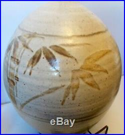 Super HUGE California ART POTTERY Stoneware LAMP Hand Ptd BAMBOO TREES Botanical