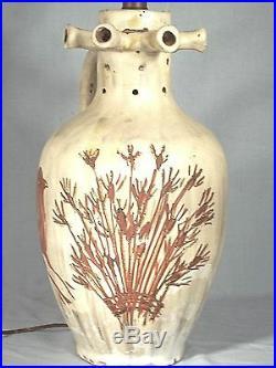 Unusual MID Century Art Pottery Stoneware Folk Art Lamp With 2 Large Birds