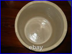 VTG 3 GALLON POTTERY STONEWARE CROCK Pot Lid Blue Crown USA Robinson Ransbottom