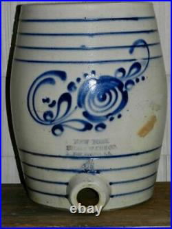 Very Good 19th Cen NY Stoneware Co. Cobalt Decorated and Banded Water Cooler