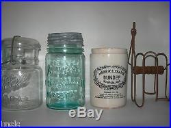 Vintage Antique LotStoneware CrockMason Jar-Canning Fruit Jars2 Jar Lifters