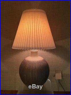 Vintage Danish Modern Stoneware Pottery Lamp Incised Brown Cressey Era