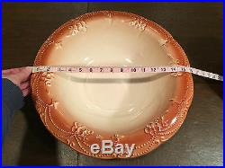 Vintage IRONSTONE Stoneware/Pottery Floral Brown/Beige LARGE PITCHER & BASIN SET