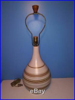 Vintage Mid-Century MARTZ Teardrop Stoneware Pottery Lamp withTeak Wood Finial