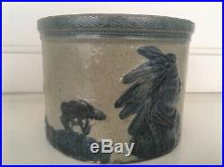 Vintage Old Sleepy Eye Stoneware Butter Crock Antique Pottery Indian Chief Blue