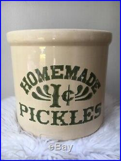 Vintage Pickles 1 cent Crock 2 Gallon Stoneware As seen on Friends Monica