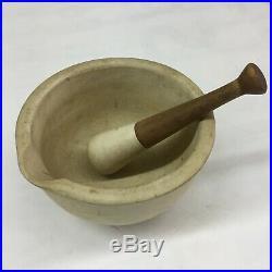 Vintage RARE BellMark Pottery Stoneware Pharmacy Apothecary Lg Mortar & Pestle