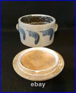 Vintage Stoneware Cake Crock Pottery Blue Cobalt Design with Lid & Handles