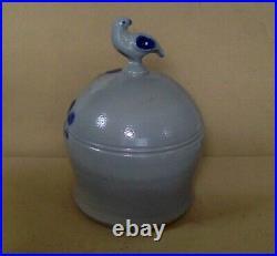 Vintage Stoneware Crock Bank. 7 H. Grey. Cobolt Blue Designs. D Eldreth Pottery