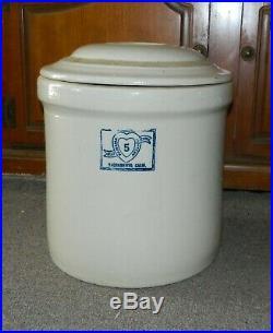 Vtg 5 Gallon Stoneware Crock with lid PANAMA POTTERY CO Sacramento California