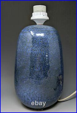 Vtg Dutch Mid-Century Modern ZAALBERG Art Pottery Lamp SUPERB MOTTLED BLUE GLAZE