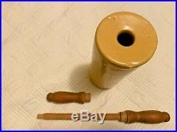 Vtg antique YELLOW WARE pottery ROLLING PIN stoneware wooden handle