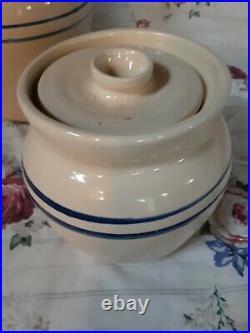 Vtg master potter e j humphries blue ring Crock Stoneware Marshall Pottery TX