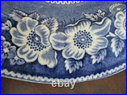 WILD ROSE 18x14 antique PLATTER BLUE Staffordshire Transferware'StoneWare