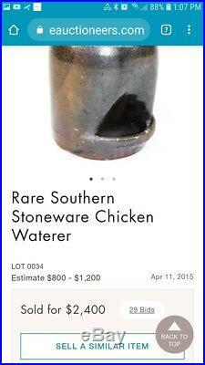 W. F. Outen Rare Primitive Churn Pottery Stoneware Catawba SC Read description
