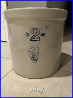 White Hall SP& S Co Two 2 Gallon Vintage Stoneware Pottery Crock