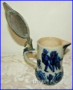 Whites Utica Stoneware Syrup Pitcher Blue Gray Children & Dog Playing Antique