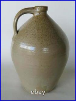 Wonderful Stoneware Ovoid Jug, Folky Chicken with Extended Wings Pecking at Corn